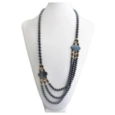 "Hematitie Triple Strand Necklace 32"" Length"
