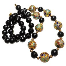 Vintage 1900's Chinese Onyx Cloisonne Necklace