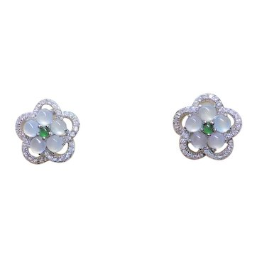 Chinese Icy Transparent Imperial Green Jadeite Sterling Earrings