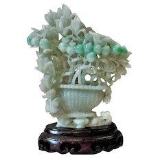 Chinese Art Deco Apple Green White Jadeite Jade Carving