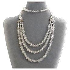 Carved Rock Quartz Crystal 3 Strand Sterling Silver Necklace