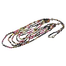 Vintage Genuine Tourmaline Multi 5 Strand Necklace