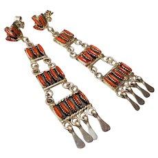 Vintage Zuni Red Coral Sterling Silver Chandelier Earrings