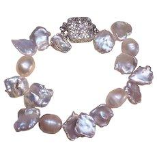 "Keshi Taupe Baroque Cultured Pearl Bracelet 8"" Length"
