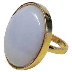 Vintage 15.71 Ct. Translucent Lavender Jade Gold Vermeil Ring