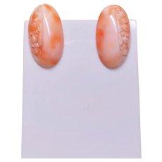 Vintage Hand Carved Floral Design Pink Coral Earrings Gold Vermeil Clip On