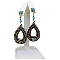 Chinese Export 1970's Dragons Turquoise Oxidized 800 Silver Earrings