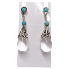 Chinese Pools Of Light Rock Quartz Crystal Turquoise 800 Silver Earrings