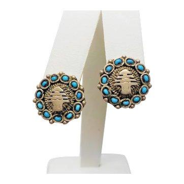 Vintage Chinese Sterling Turquoise Enamel Earrings
