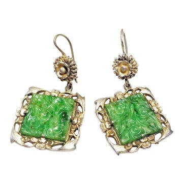 Antique Chinese Qing Green Jade Sterling Silver Earrings