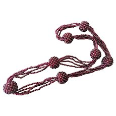 "Chinese Woven Garnet 3 Strand Necklace 28"" Length"