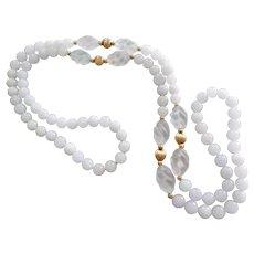 "14kt. Yellow Gold White Jadeite Jade Rock Quartz Crystal Necklace 40"" Long"