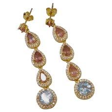 Pink Tourmaline Blue Topaz Gold Vermeil Earrings