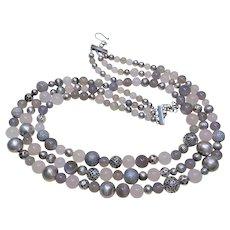 Rose Quartz, Grey Moonstone, Grey Chalcedony Sterling Silver 3 Strand Necklace