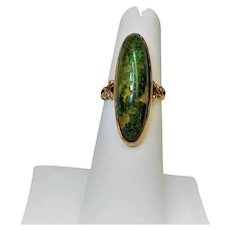 Antique Victorian 1890 Green Turquoise 14k Yellow Gold Ring