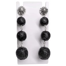 Vintage Chinese Hand Carved Shou Black Cinnabar Sterling Earrings
