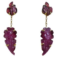30 Ct. Pink Tourmaline 14k Carved Jackets With Attachable Dangle Earrings.