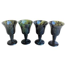 Vintage 1960's Chinese Export Set of 4 Translucent Jade Cordial Glasses