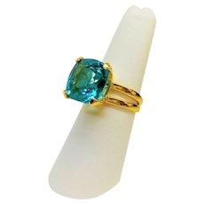 Custom Made 13.7 Carats Paraiba Tourmaline Gold Vermeil Ring