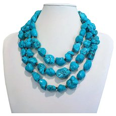 Vintage Chinese Turquoise Nugget Necklace 60 Inches Length