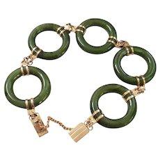 Vintage 1970's Chinese Jade Gold Vermeil Bracelet