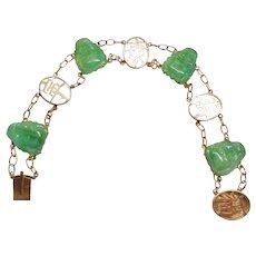 "Chinese Art Deco 14k Green Jade Buddha Bracelet 7.25"" Length"