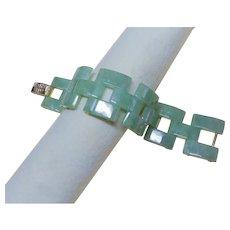 Vintage Chinese Translucent Green Jadeite Jade Link Bracelet