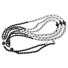 "Rock Quartz Crystal Black Onyx 3 Strand Necklace 32"" Long"