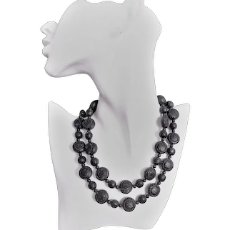 Chinese Export 1900's Shou Carved Black Cinnabar Necklace