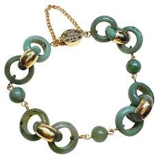 Vintage 1970's Chinese Interlinked Jade Bracelet