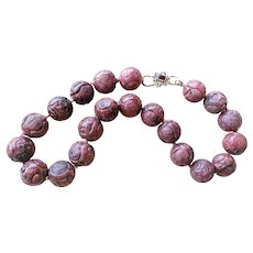 """Vintage Chinese Hand Carved Rhodonite 20 mm Shou Bead Necklace 20"""""""
