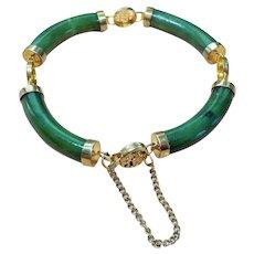 "Vintage Chinese Green Jade Bracelet 7.25"" Length"