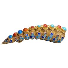 Chinese Export Coral Turquoise Gold Vermeil Filigree Brooch Pin