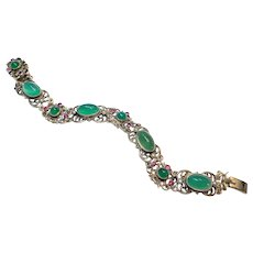 Antique Austro Hungarian Chrysoprase Pink Tourmaline Seed Pearl Sterling Bracelet