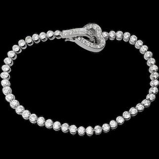 "Sterling Silver Crystal Heart Bracelet 7.5"" Length"