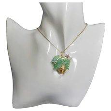 Chinese Export Apple Green Jadeite Enamel Brooch/Pendant