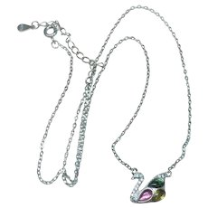 Pink Green Yellow Tourmaline Sterling Silver Swan Necklace