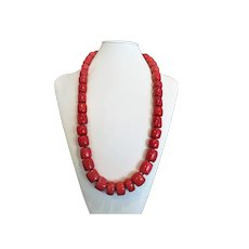 "Huge Red Coral Graduating Necklace Sterling Clasp 30"" Length"