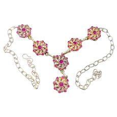 Genuine 2.94 cts. Pink Rubies White Topaz Sterling Silver Necklace