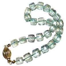 "70 Cts. Green Amethyst 14k Gold Clasp 8.25"" Length"