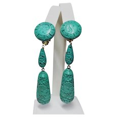 Vintage Chinese Hand Carved Turquoise Cinnabar Clip On Earrings