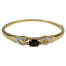 Vintage Chinese Export Onyx Gold Vermeil Sterling Bracelet