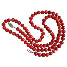 Vintage Italian 7mm Red Coral Necklace 14k Gold Clasp 29 Inches Length