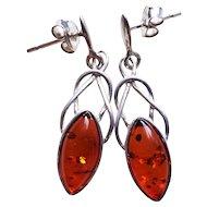 Vintage Baltic Amber Sterling Silver Earrings
