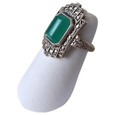Vintage Art Deco Chrysoprase Marcasite 925 Sterling Silver Size 4