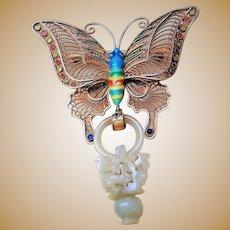 1850-1899 Qing Chinese Enamel Butterfly Mutton Fat Devil's Work Jade Sterling Gilt Brooch
