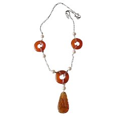 Chinese Art Deco 1920's Carnelian Cultured Pearls Sterling Necklace