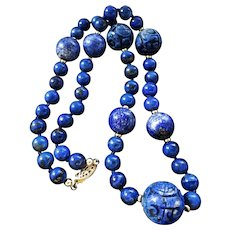 "Vintage Chinese Export Carved Shou Lapiz Lazuli Necklace 20"" Length"