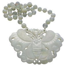 Chinese Vintage Translucent Jade Moth Pendant Necklace Carved Floral Jade Beads