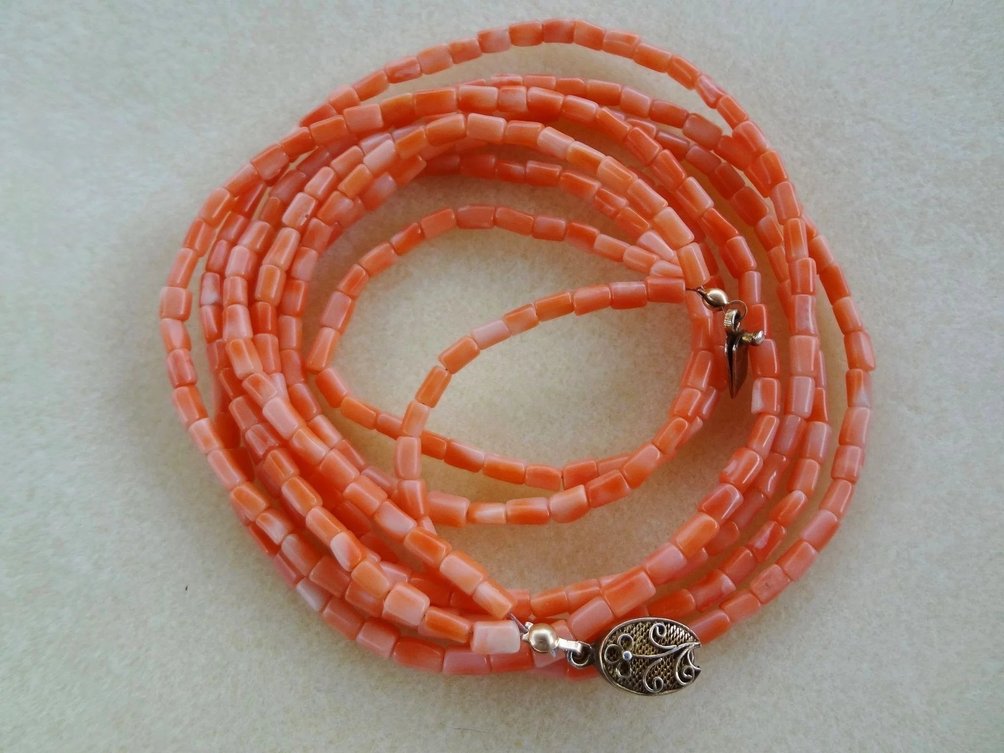 Chinese Vintage3 Strand Salmon Coral Necklace 24-5646